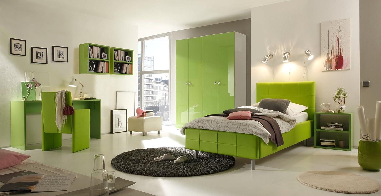 Jugendzimmer mit Bett 90 x 200 cm kiwi grün jetzt bestellen