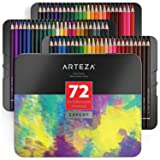 ARTEZA Professional Watercolor Pencils, Set of 72, Multi Colored Art Drawing Pencils in Bright Assorted Shades, Ideal for Coloring, Blending and Layering, Watercolor Techniques (Color: Watercolor Pencils, Tamaño: 1 Set)