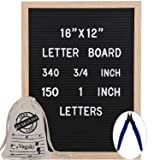 Letter Board 12 x 16 Inches - Vagski Black Felt Letter Board with 490 Letters Numbers & Symbols (150 1'' + 340 ¾''), Changeable Message Board Sign with Oak Wood Frame, Letter Pouch & Scissors VAG047 (Color: 12x16 Black, Tamaño: 12
