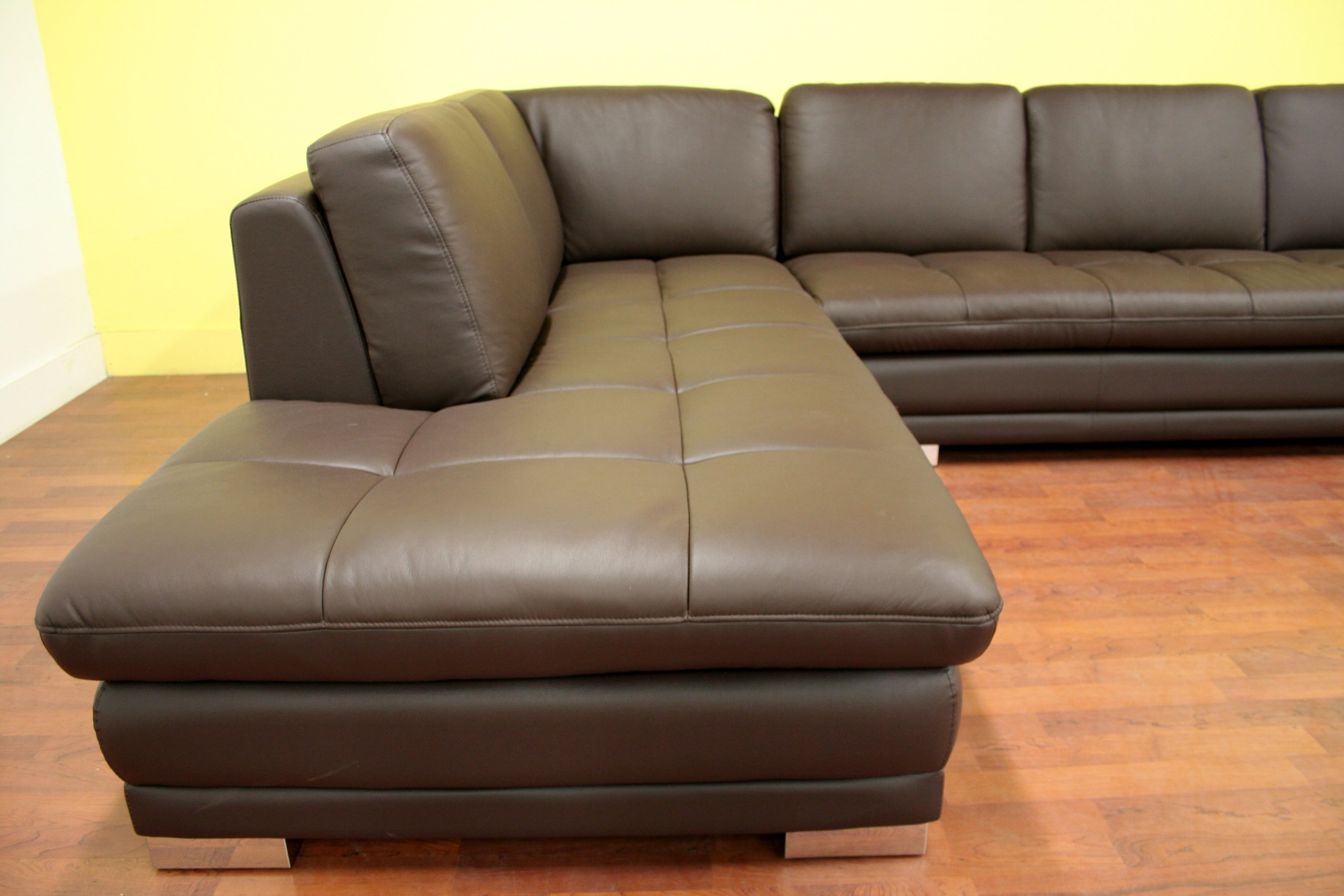 Baxton studio callidora brown leather sectional sofa with for Brown sectional sofa with chaise