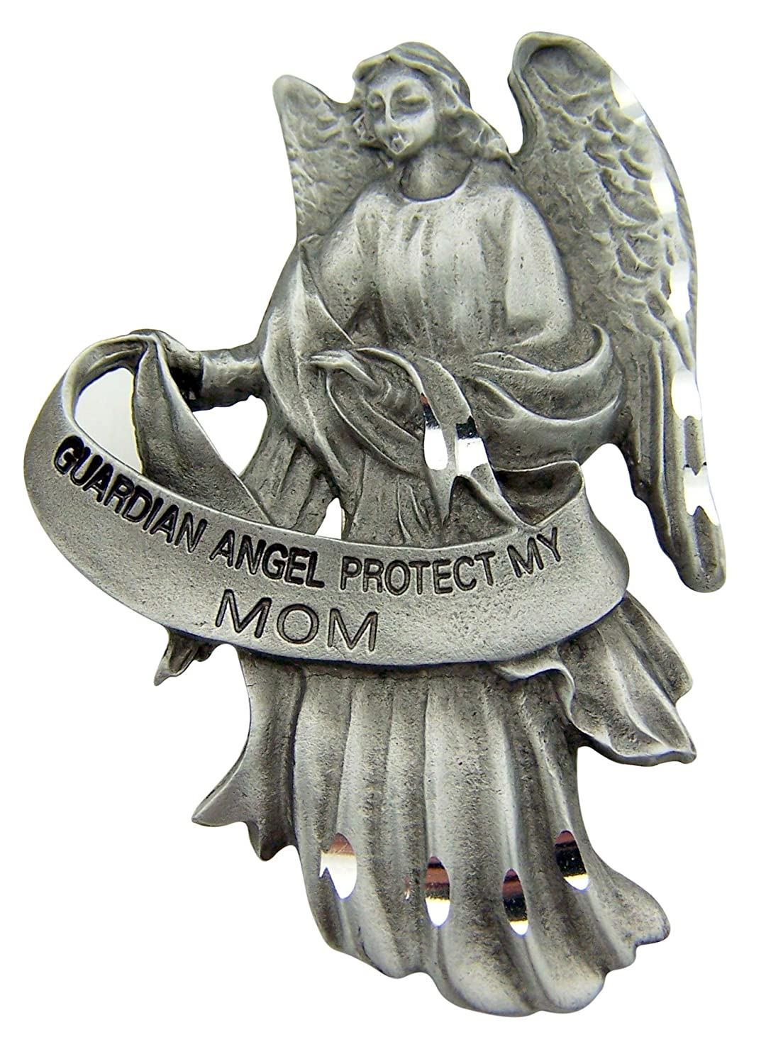 Religious Mother's Day Gift 2 1/2″ Antique Finish Pewter Guardian Angel Protect My Mom Auto Car Visor Clip Travel Protection