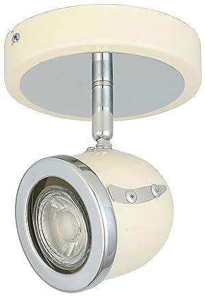 LED Retro Adjustable Eyeball Black &Chrome Ceiling Spotlight (Beige & Chrome, 1 Lights) (Color: Beige & Chrome, Tamaño: 1 Lights)