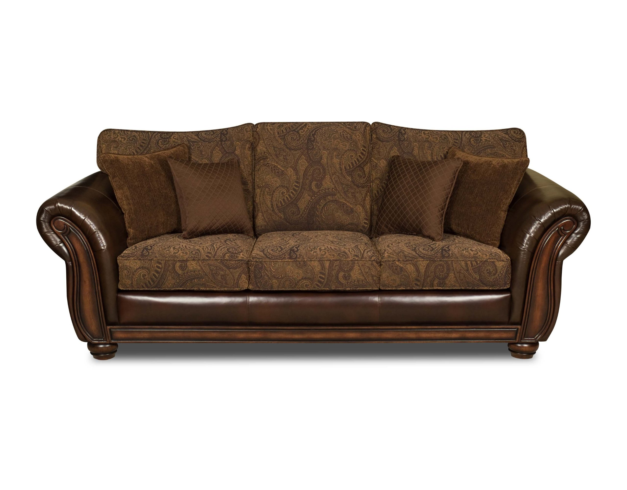 Simmons Vintage Leather Tobbaco Fabric Queen Size Sofa