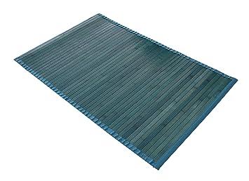 Frandis 220015 tapis de de bain bambou bleu turquoise for Tapis de cuisine turquoise