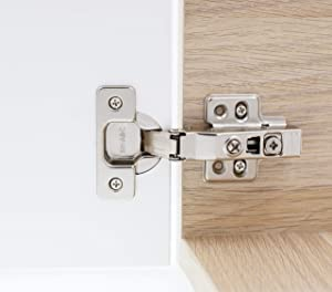 Full Frameless Cabinet Hinges Concealed Overlay for Kitchens, Bathrooms | Soft Close with Built-in Damper | Stainless-Steel Metal Finish | Includes Screws (2) (Color: Nickel Plated, Tamaño: Bore Diameter: 35mm)