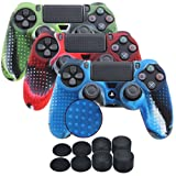 YoRHa Studded Silicone Cover Skin Case for Sony PS4/slim/Pro Dualshock 4 controller x 3(camouflage red+camouflage blue+camouflage green) With Pro thumb grips x 8 (Color: camou red&blue&green, Tamaño: studded pack)