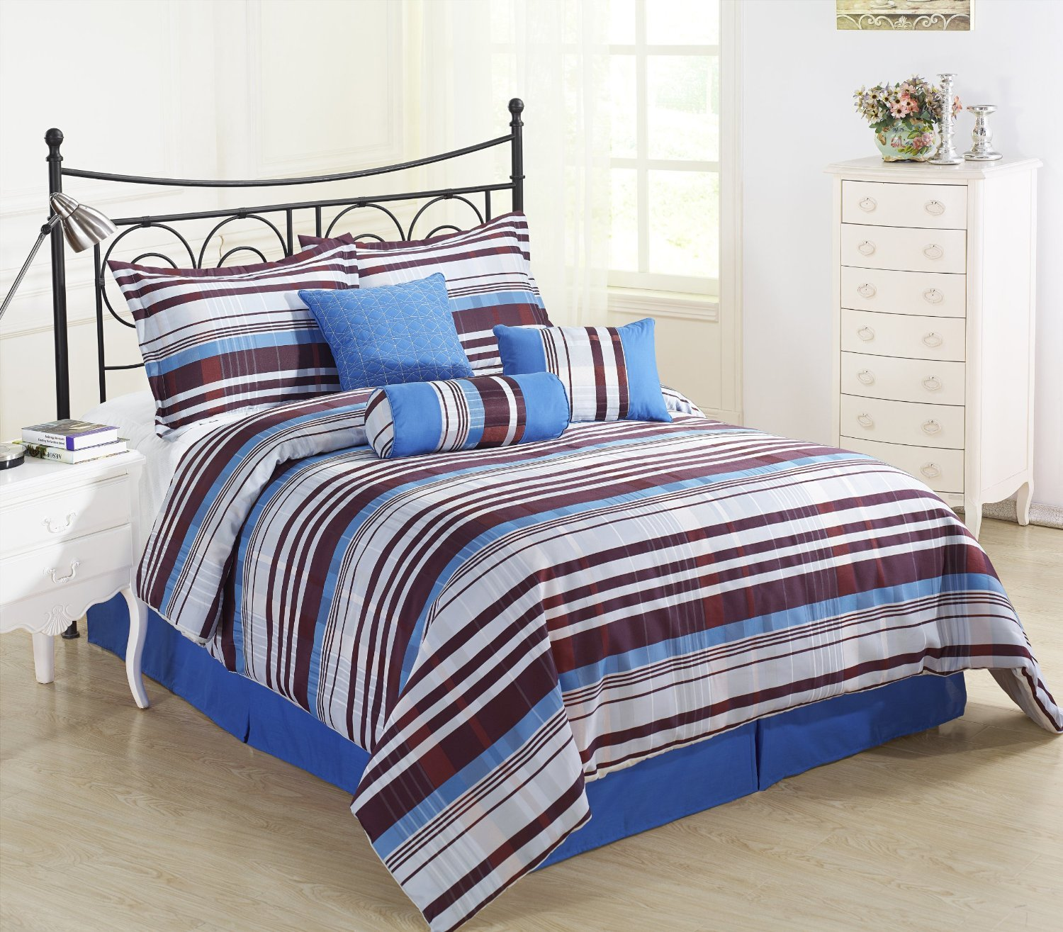 Retro 7 Piece Striped Comforter Set Ebay