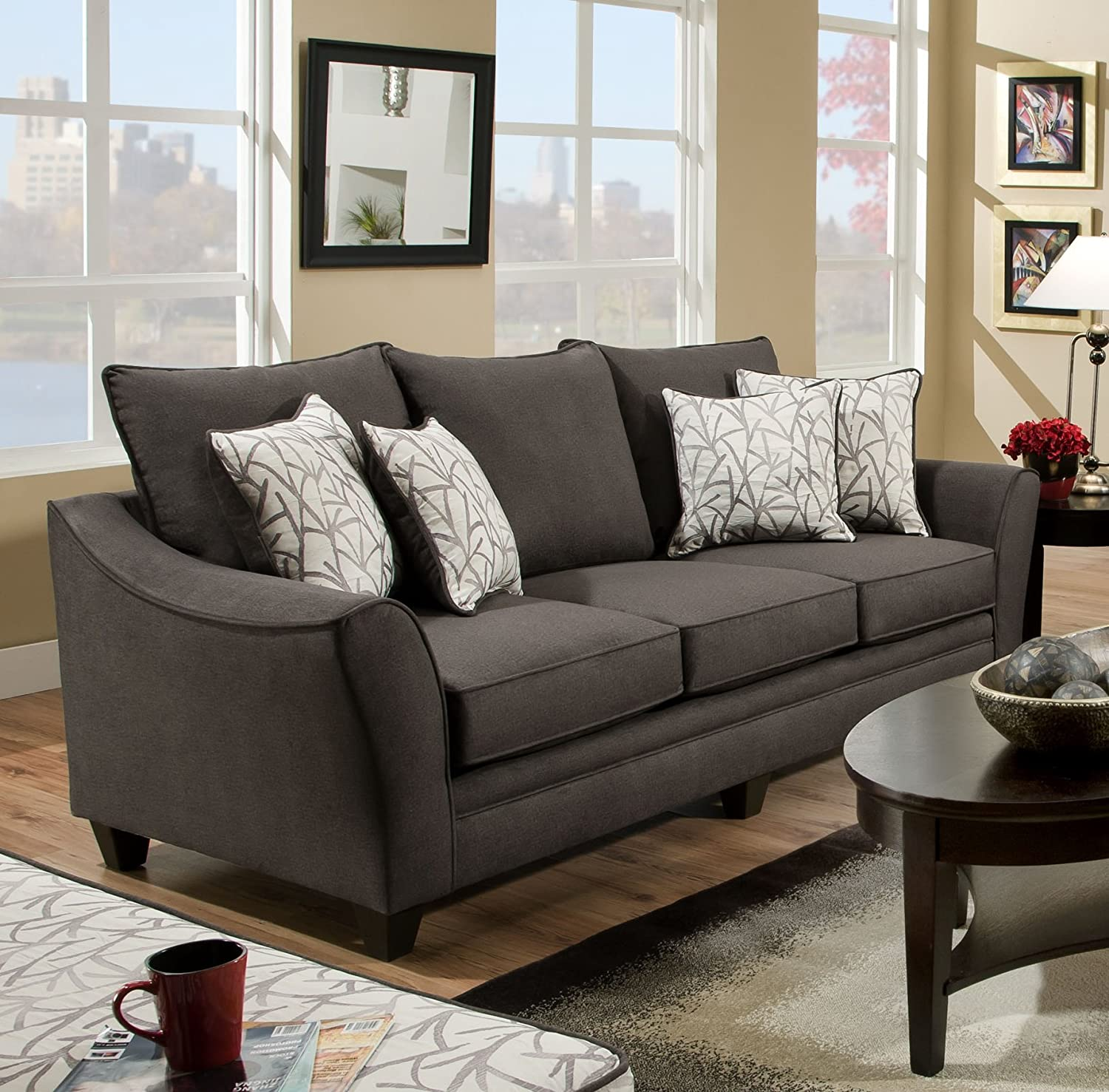 Chelsea Home Furniture Cupertino Sofa - Flannel Seal/Cosmopolitan Birch Pillows