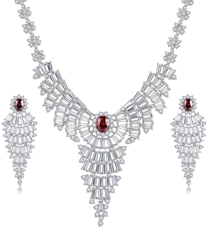 Hochzeit Braut Erklärung Halskette und Ohrringe Set für Damen, roten ovalen und klar Baguette Zirkonia jetzt kaufen