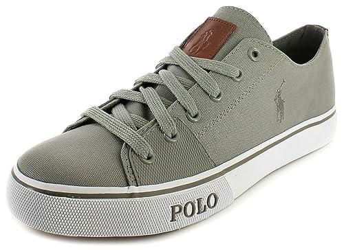 ... Ralph Lauren Casual Leather Canvas Grey Black Men Shoes ...