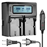 Neewer Dual LCD Battery Charger for Canon LP-E6 Batteries Compatible with Canon 7D 6D 5D II III 5Ds R 70D 60D 6D a 80D(US Plug + EU Plug + Car Charger Adapter) (Color: black, Tamaño: 7.3 x 4.8 x 2.3 inches)