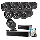 Zmodo 1080p Full HD 8 Outdoor Video Surveillance Security Camera System 8 Channel HDMI NVR, sPoE Repeater and 1TB Hard Drive (Color: Black, Tamaño: 8 Cam Kit)