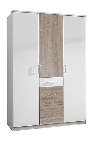 Wimex 152625 Kleiderschrank, 135 x 199 x 58 cm 3-turig mit zwei großen und einen kleinen Schubkasten, Front und Korpus alpinweiß/ Absetzungen eiche sägerau Nachbildung