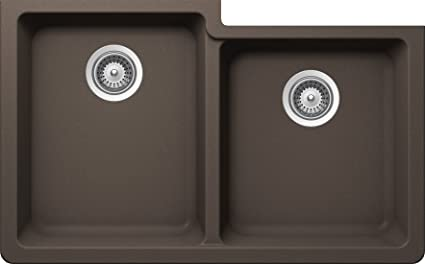 SCHOCK ALIN175YU063 ALIVE Series CRISTALITE 60/40 Undermount Double Bowl Kitchen Sink, Mocha