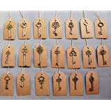 SL crafts Mixed 100pcs Skeleton Keys & 100 pcs Kraft Tags Antiqued Brass Bronze Charms Pendants Wedding favor 34mm-68mm (Color: Antique Bronze)