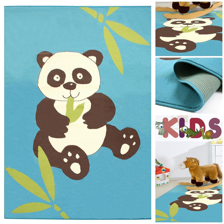 Kinderteppich Spielteppich mit niedlichem Panda Bär in Hellblau | Teppich mit Tier Motiv für Mädchen & Jungen | Kids Teppiche fürs Kinderzimmer, Babyzimmer & Spielzimmer, Farbe:Blau;Größe:120×170 cm günstig bestellen