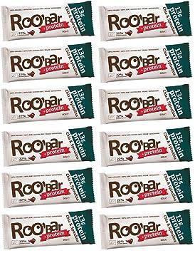 ROOBAR Protein Chia & Spirulina 60g x12 (12er-Pack) Rohkost-Riegel mit Superfoods (bio, roh, vegan, glutenfrei)