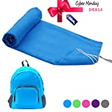 Microfiber Towels Set - Beach Towel Set Includes Travel Towel & Backpack, Fast Drying Towel - Best for Beach, Travel, Camping, Gym, Yoga, Sports, Swimming, Bath (Blue, XXXL:39''x78''-1pack) (Color: Blue Towel & Blue Backpack, Tamaño: XXXL:39''x78''-1set)