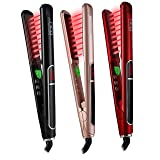 HTG Pro Flat Iron with Infrared Ionic Technology Hair Straightener 1 inch Titanium Ion Ceramic Tourmaline Plates LCD Display Dual Voltage Suitable for All Hair Types Makes Hair Shiny & Silky Heats Up (Color: Red)