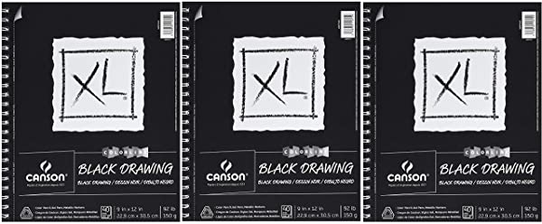 Canson XL Series Black Drawing Paper for Pencil, Acrylic Marker, Opaque Inks, Gouache and Pastels, Side Wire, 92 Pound, 9 x 12 Inch, Black, 40 Sheets (?hr?? P?ck) (Tamaño: ?hr?? P?ck)