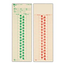 TOPS Semi-Monthly Time Cards, Green Ink Front, Red Back, 500-Count, 3.5 x 10.5 Inches, Manila (1277)