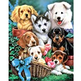 5D Diamond Painting Kits for Adults 16x20Inch Large Full Drill Animals Paint with Diamond Embroidery Crafts Sewing Cross Stitch Picture Home Wall Decoration by TOCARE,Dog Buddy Pattern (Color: Dog Buddy)