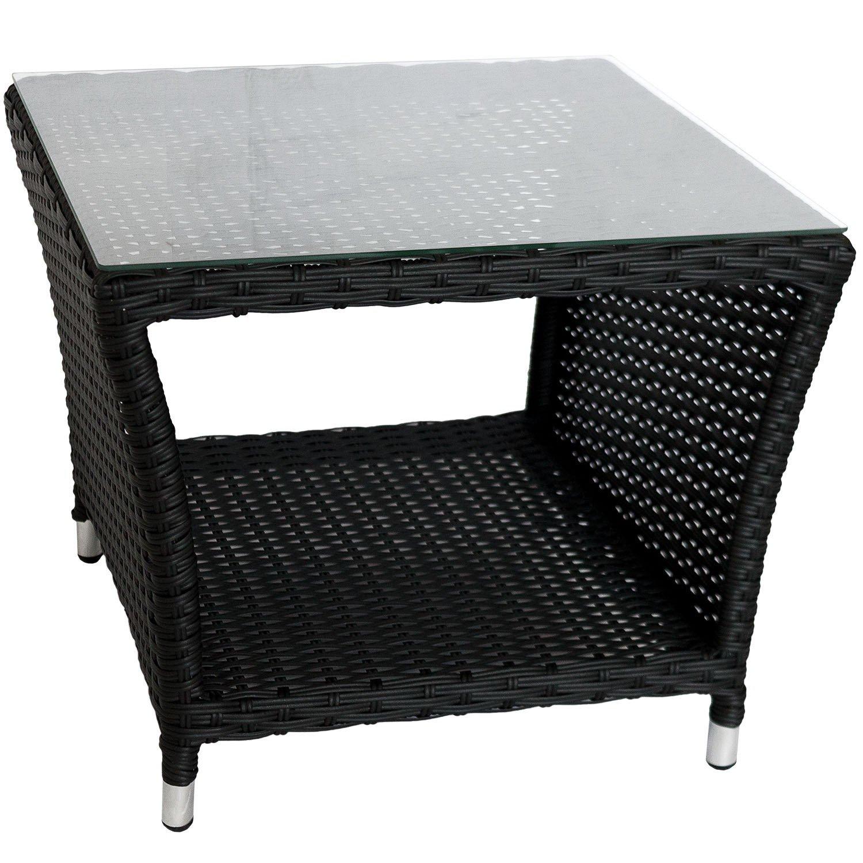 Eleganter Polyrattan Beistelltisch mit Tischglasplatte und Ablagefläche, 50x50cm – Schwarz – Gartentisch Teetisch Gartenmöbel Rattanmöbel online kaufen