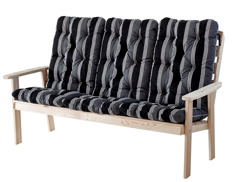 Ambientehome 90334 3-er Bank Gartenbank Holzbank Loungebank Massivholz Hanko Maxi, natur mit Kissen, schwarz / grau
