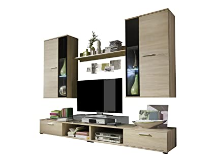 Furnline Salsa Oak Light Rough Cut TV Stand Wall Unit Living Room Furniture Set, Brown