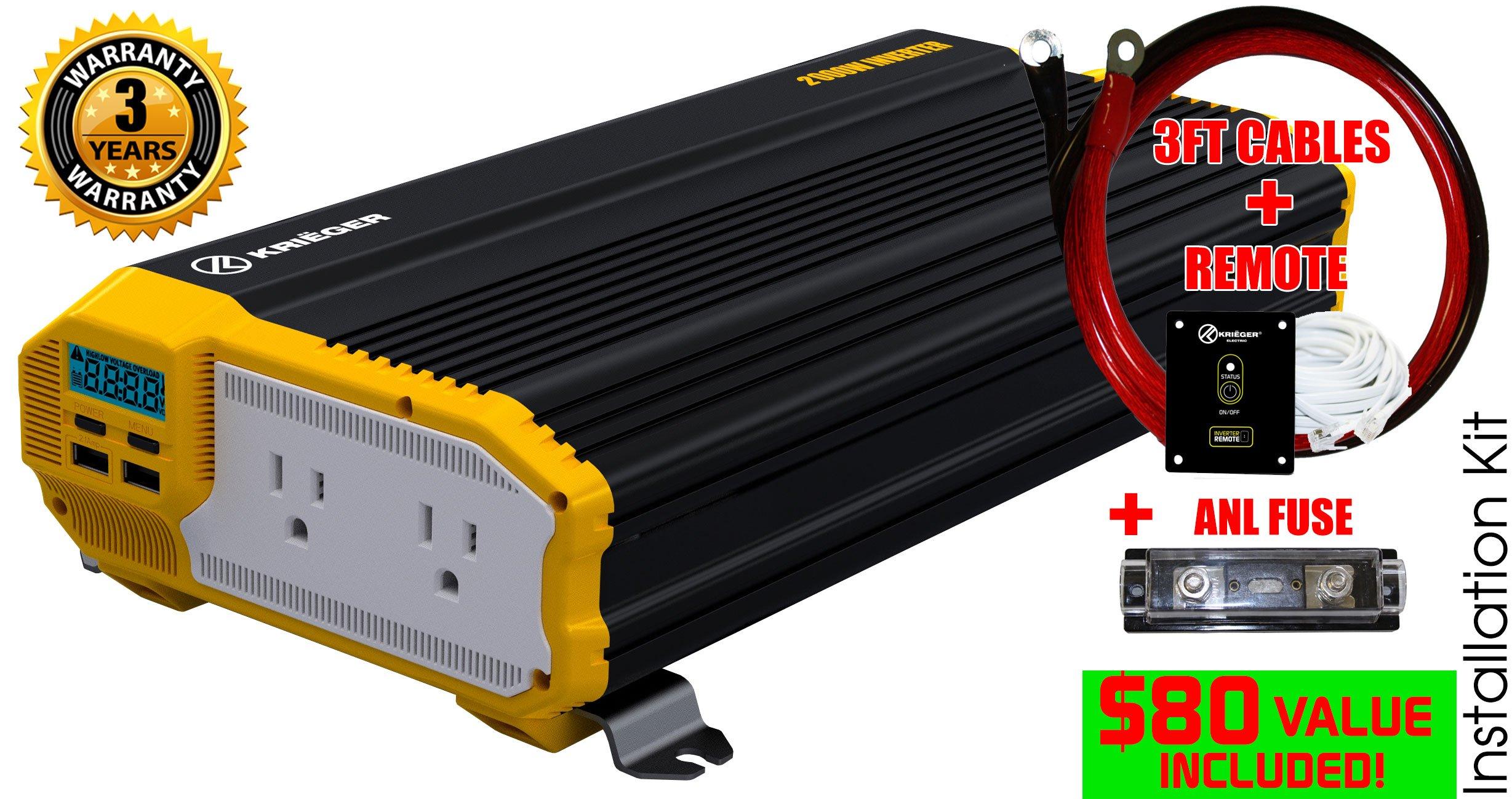 Kriëger® 2000 Watt 12V Power Inverter Dual 110V AC Outlets and Dual ...