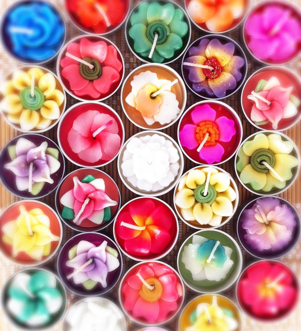 キャンドル フラワーキャンドル/ティーライトキャンドル/ロウソク/ろうそく/アロマの香り (10個入りお徳用パック) Flower Candle