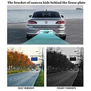 iStrong Backup Camera Wireless 5'' Monitor Kit for Car/SUV/Minivan Waterproof License Plate Rear View Camera with 6 White LED Night Vision Guide Lines ON/Off