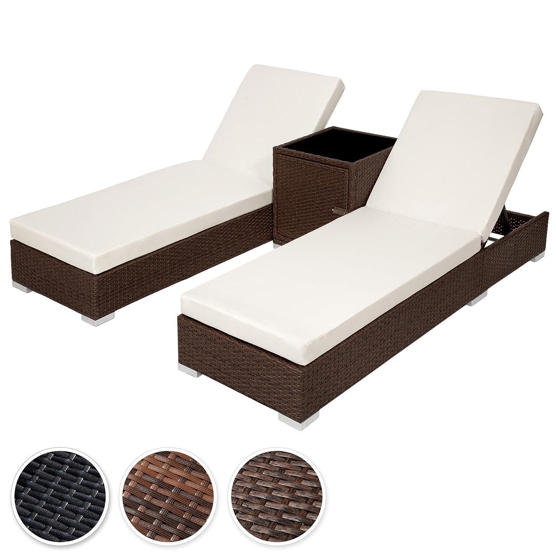 TecTake 2x Aluminium Polyrattan Sonnenliege + Tisch Gartenmöbel Set – inkl. 2 Bezugsets + Schutzhülle – diverse Farben – (Antik-Braun (Nr. 401818)) bestellen