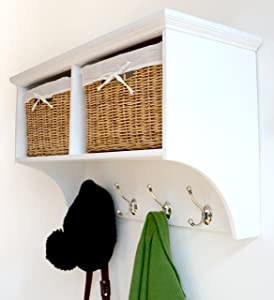 Tetbury White Coat Rack with 2 Natural Wicker Baskets       review