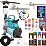 3 Airbrush Kit with 6 U.S. Art Supply Primary Airbrush Colors and Master Airbrush Cool Runner Pro Airbrush Compressor Air Filter/Regulator 2 Gravity Feed Dual Action Airbrushes and 1 Suction Airbrush (Color: Assorted, Tamaño: Kit with