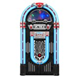 Victrola Full Size Retro Jukebox with 3-Speed Turntable, CD Player, AM/FM Radio, Bluetooth, and Color Changing LED Lights, 51-Inches Tall (Color: Silver, Tamaño: 1SFA)