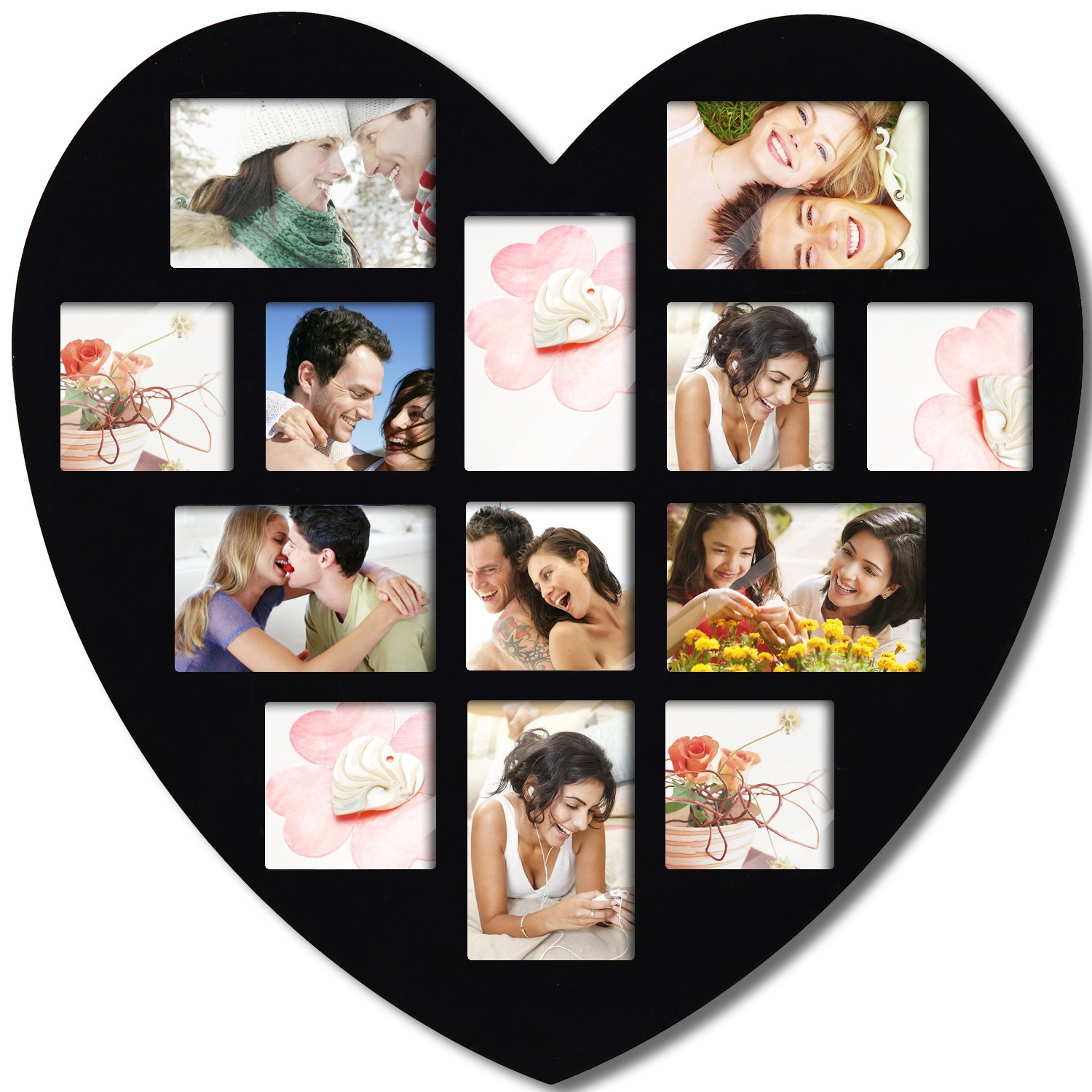Adeco [PF0304] 13 Openings Heart Picture Collage Frame – Holds Seven 4×4 and Six 4×6 Inch Photos – Heart Shaped Wood Photo Collage Decoration – Black, for Wall Hanging – Love Picture Frame