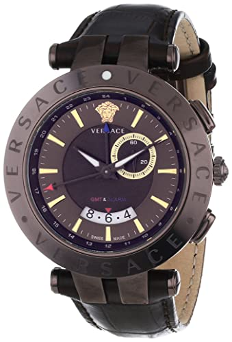 "Versace Men's 29G60D598 S497 ""V-Race Brown"" Stainless Steel Watch with Leather Band"