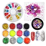 Nail Art Set, 12 Colors Real Nail Dried Flowers, Mixed Glitters Hexagon Sequins Flake, Purple Rhinestone Small Caviar Beads Metal Studs Gems Box, Nails Stickers Decoration Kits (SET18A) (Color: SET18A)