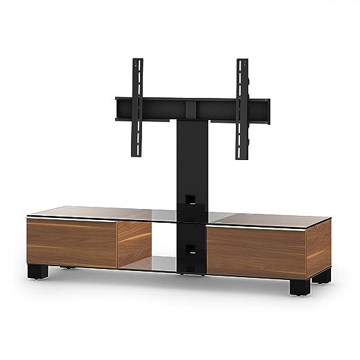 Sonorous MD 8140-C-HBLK-WNT Fernseher-Möbel mit Klarglas (Aluminium Hochglanz, Korpus Holzdekor) walnuß/schwarz