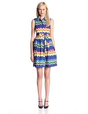 Plenty by Tracy Reese Women's Amy Printed Cotton Poplin Sleeveless Shirt Dress, Navy/Multi Zig Zag, 0