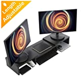 Wood Dual Monitor Stand Riser with Adjustable Length Multi Media Speaker TV PC Laptop Computer Screen Stand Riser Desktop Stand Storage Organizer for iMac,Printer,Notebook,Xbox One,Black (Color: 33.7