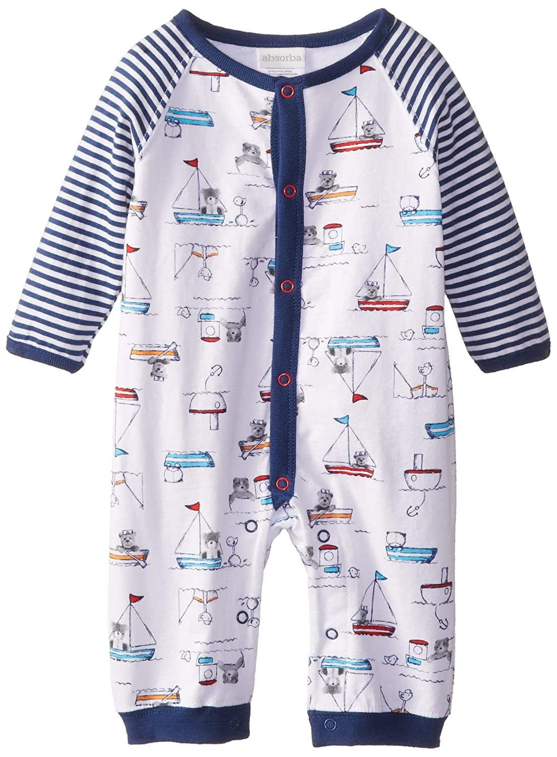 ABSORBA Baby-Boys Newborn Little Sailor Coverall absorba baby boys newborn g velour tutu legging set