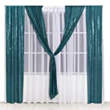 PartyDelight 2ftX8ft Teal Sequin Backdrop Curtain Photo Booth for Wedding Party Birthday Decoration Pack of 2. (Color: Teal, Tamaño: 2X8 2packs)