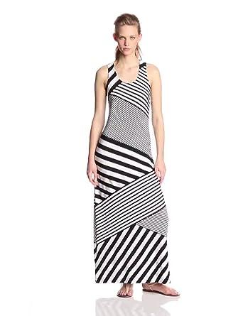 Calvin Klein Women's Sleeveless Diaganol Striped Maxi Dress, Black/White, 4