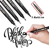 Refill Brush Marker Pens for Lettering - 4 Size Black Calligraphy Ink Pen for Beginners Writing, Signature, Illustration and Design (With Refill Ink)