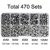 470 Sets Cz White Clear Crystal Rivets Rapid Rhinestone Silver Color Stud Rivets fit for DIY Leather-Craft and Garment (Mixed 02) (Color: Silver Base with White Clear Crystal, Tamaño: Mixed 02)