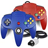 2 Pack N64 Controller, iNNEXT Classic Wired N64 64-bit Gamepad Joystick for Ultra 64 Video Game Console (Color: Red/Blue)