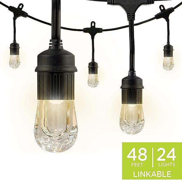 Enbrighten Classic LED Cafe String Lights, Black, 48 Foot Length, 24 Impact Resistant Lifetime Bulbs, Premium, Shatterproof, Weatherproof, Indoor/Outdoor, Commercial Grade, UL Listed, 31664 (Color: Black, Tamaño: 48 ft.)