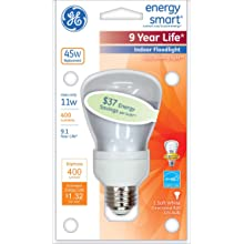 GE Lighting 24691 Energy Smart CFL 11-Watt (45-watt replacement) 400-Lumen R20 Floodlight Bulb with Medium Base, 1-Pack